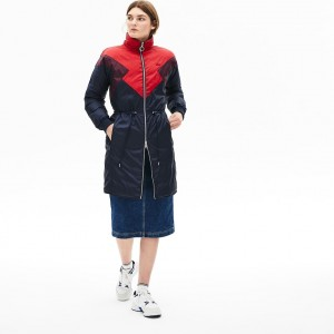 Womens Reversible Color-Blocked Water-Resistant Long Quilted Coat