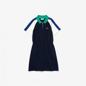 Girls Zippered Colourblock Cotton Polo Dress