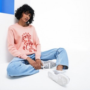Womens Keith Haring 3D Print Cotton Sweater