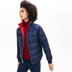 Womens Reversible Color-Blocked Water-Resistant Quilted Jacket
