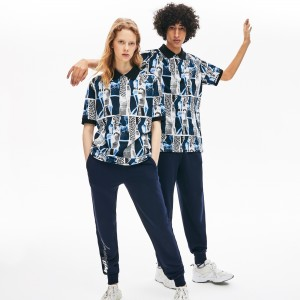 Unisex LIVE Loose Fit Graphic Print Cotton Polo Shirt