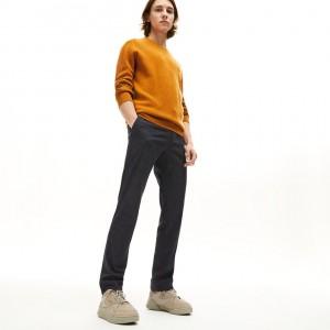 Mens Slim Fit Check Wool Blend Chino Pants