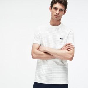 Mens Crew Neck Net Print Cotton Jersey T-shirt