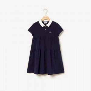 Girls Flounced Cotton Pique Polo Dress