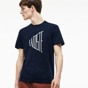 Mens Crew Neck Lettering Cotton T-Shirt