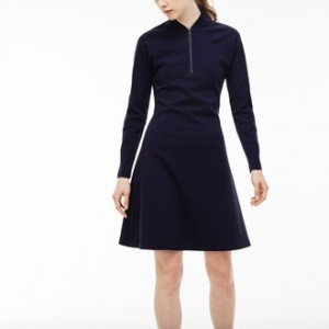 Womens Made In France Zip Neck Colorblock Milano Wool Polo Dress
