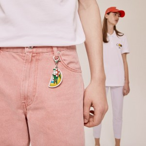 Mens Lacoste x FriendsWithYou Coloured Metal Charm Keyring