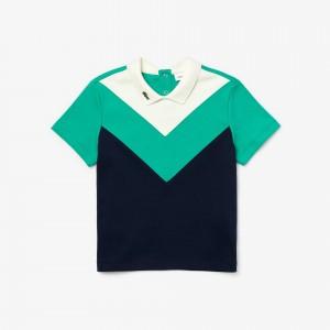Girls Lacoste Reverse Collar Colourblock Cotton Polo Shirt