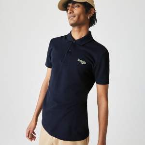 Mens Regular Fit Solid Cotton Pique Polo With Badge