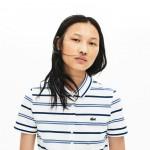 Womens Slim Fit Striped Stretch Pique Polo Shirt