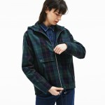 Womens Tartan Check Print Cotton Canvas Zippered Pea Coat
