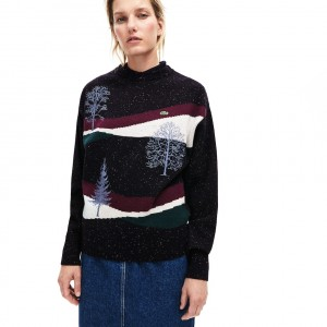 Womens Winter Design Cotton And Wool Blend Jacquard Sweater