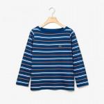 Womens Boat Neck Cotton Blend Sailor Shirt