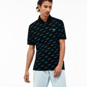 Mens LIVE Printed Mini Pique Polo