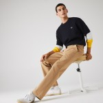Mens Lacoste LIVE Standard Fit Pleated Cotton Chino Pants