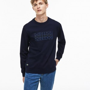 Mens Crew Neck Lettering Fleece Sweatshirt