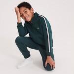 Boys Stand-Up Collar Colored Bands Zippered Fleece Sweatshirt