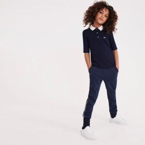 Girls Contrast Neck Stretch Ribbed Knit Polo