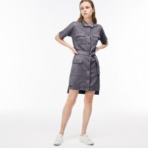 Womens Belted Buttoned Pique Shirt Dress