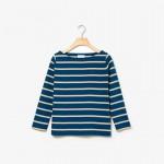 Womens Striped Ribbed Cotton Boatneck Sweatshirt
