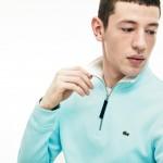 Mens Zip Stand-Up Collar Ribbed Sweatshirt