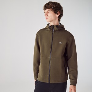 Mens Lacoste Branded Hooded Zippered Jacket With Badge