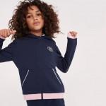 Girls Hooded Zippered Contrast Accent Fleece Sweatshirt