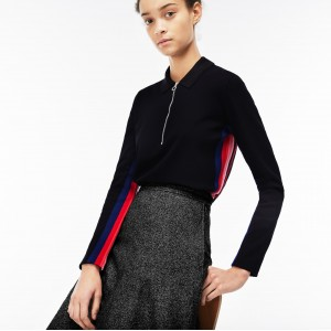 Womens Regular Fit Zip Neck Polo With Contrast Sleeves