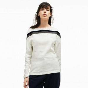 Womens Made In France Boat Neck Contrast Band Cotton Sweatshirt