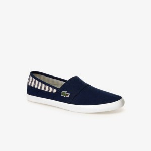 Mens Marice Canvas Slip-ons with Green Croc