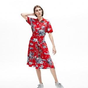 Womens Cotton Pique Belted Dress