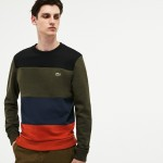 Mens Crew Neck Colorblock Fleece Sweatshirt