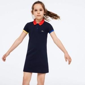 Girls' Colorblock Cotton Petit Pique Polo Dress