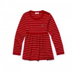 Girls Flared Striped Cotton And Wool Jersey Dress