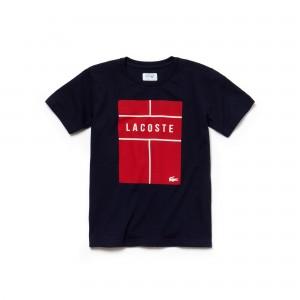 Boys SPORT Lettering Technical Jersey Tennis T-Shirt
