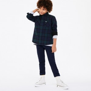 Boys Classic Fit Checked Cotton Flannel Shirt