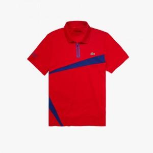 Mens Lacoste SPORT Paneled Breathable Pique Tennis Polo Shirt