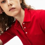 Womens Slim Fit Stretch Mini Pique Polo Shirt
