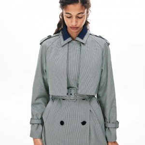 Womens Belted Check-Print Canvas Trench Coat