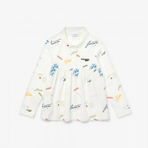 Girls Lacoste Print Flounced Cotton Pique Polo Shirt