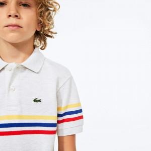 Boys' Tricolor Striped Cotton Petit Pique Polo