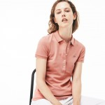 Womens Slim Fit Stretch Mini Cotton Pique Polo Shirt