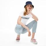 Womens Crew Neck Lacoste Palm Print T-Shirt