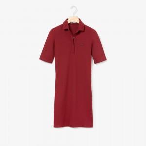 Womens Slim Fit Stretch Mini Pique Polo Dress