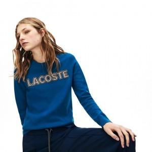 Womens Crewneck Checkerd-Logo Cotton Sweater