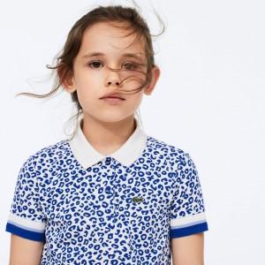 Girls' Leopard Print Cotton Petit Pique Polo
