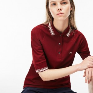 Womens Piped Pique Polo