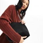 Womens Croco Crew Grained Leather Bucket Bag