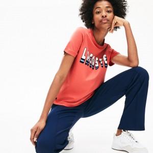 Womens Crewneck 3D-Lettering Cotton T-Shirt