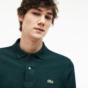 classic fit long-sleeve Polo Shirt in marl petit pique